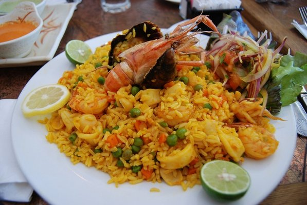 Shrimp served with delightfully spices rice is a favorite dish in Northern Peru.